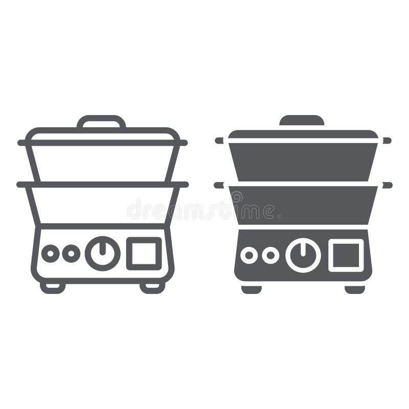 Διπλό γραμμή λεβήτων και glyph εικονίδιο, κουζίνα και συσκευές, σημάδι κουζινών, διανυσματική γραφική παράσταση, ένα γραμμικό σχέ ελεύθερη απεικόνιση δικαιώματος