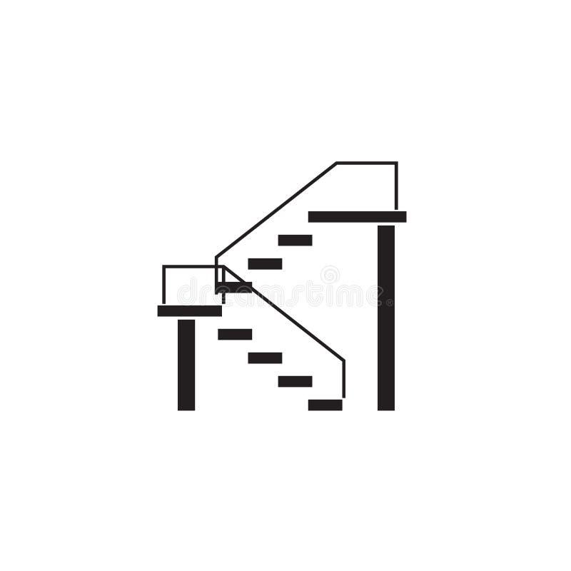 Διπλό εικονίδιο έννοιας σκαλοπατιών μαύρο διανυσματικό Διπλή επίπεδη απεικόνιση σκαλοπατιών, σημάδι απεικόνιση αποθεμάτων