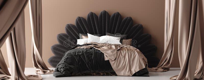 Διπλό κρεβάτι με το θόλο στα καφετιά χρώματα, πανοραμική άποψη διανυσματική απεικόνιση
