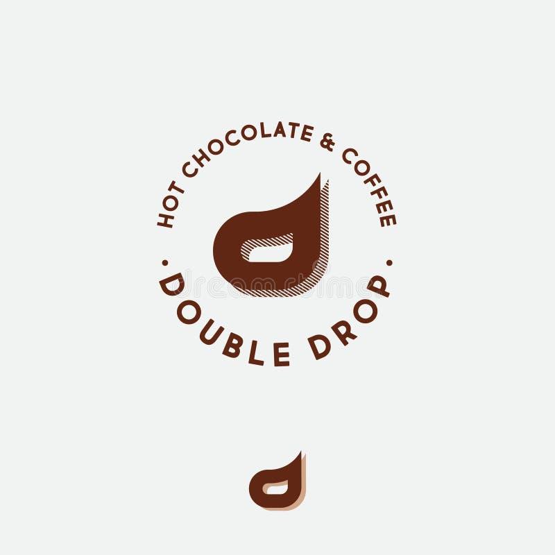 Διπλό λογότυπο Δ Έμβλημα καφέδων καφέ και σοκολάτας Δύο γράμματα Δ ελεύθερη απεικόνιση δικαιώματος