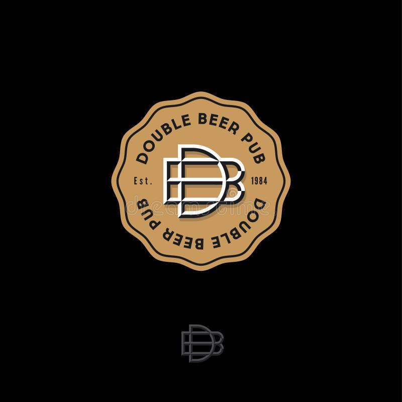 Διπλό λογότυπο μπαρ μπύρας Έμβλημα ή σημάδι ζυθοποιείων Β και συνδυασμένες Δ επιστολές σε ένα χρυσό διακριτικό διανυσματική απεικόνιση