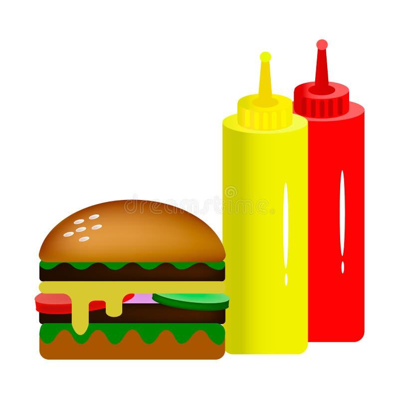 Διπλό χάμπουργκερ με τις σάλτσες διανυσματική απεικόνιση