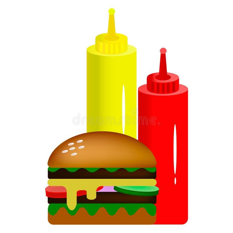 Διπλό burger με τις σάλτσες στοκ εικόνα με δικαίωμα ελεύθερης χρήσης