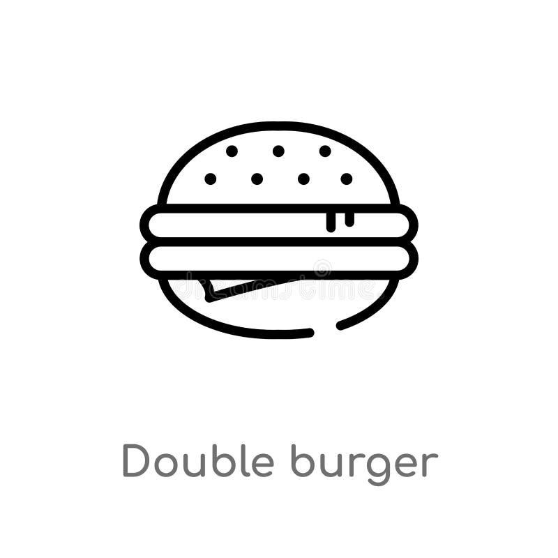 διπλό burger περιλήψεων διανυσματικό εικονίδιο E r διανυσματική απεικόνιση