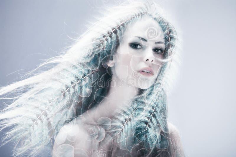 Διπλή έκθεση ομορφιάς γυναικών στοκ εικόνες με δικαίωμα ελεύθερης χρήσης
