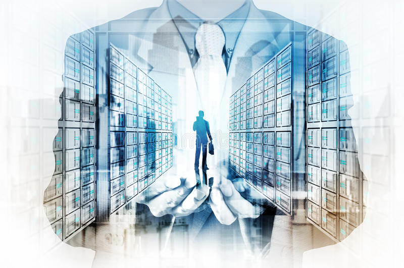 Διπλή έκθεση του χεριού επιχειρηματιών που παρουσιάζει ηγέτη διανυσματική απεικόνιση