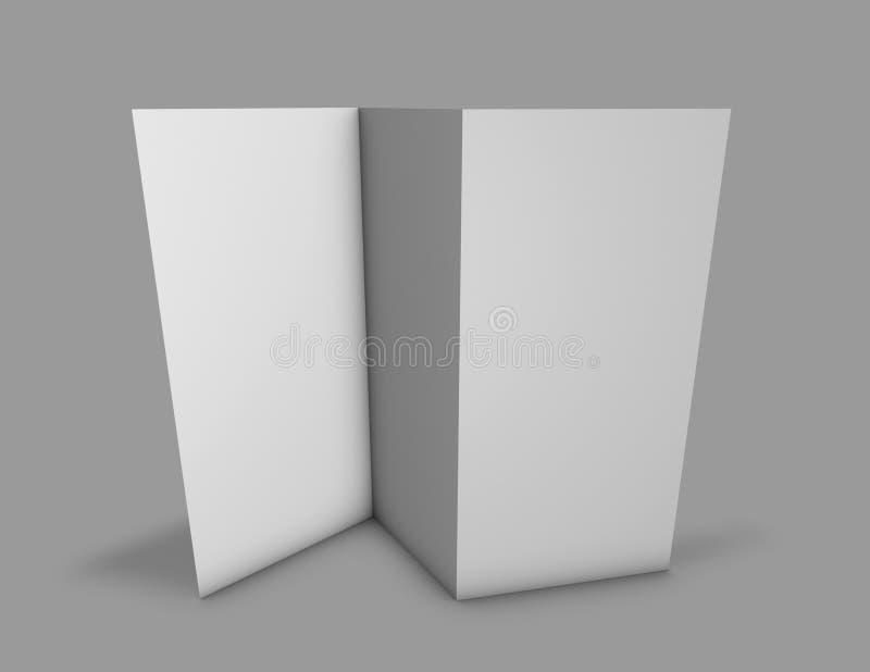 Διπλωμένες κάθετες επιλογές φυλλάδιων 3 σελίδων που στέκονται, γκρίζα τρισδιάστατη απόδοση υποβάθρου απεικόνιση αποθεμάτων