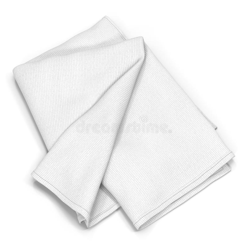 Διπλωμένη πετσέτα λουτρών που απομονώνεται στο λευκό τρισδιάστατη απεικόνιση στοκ εικόνες