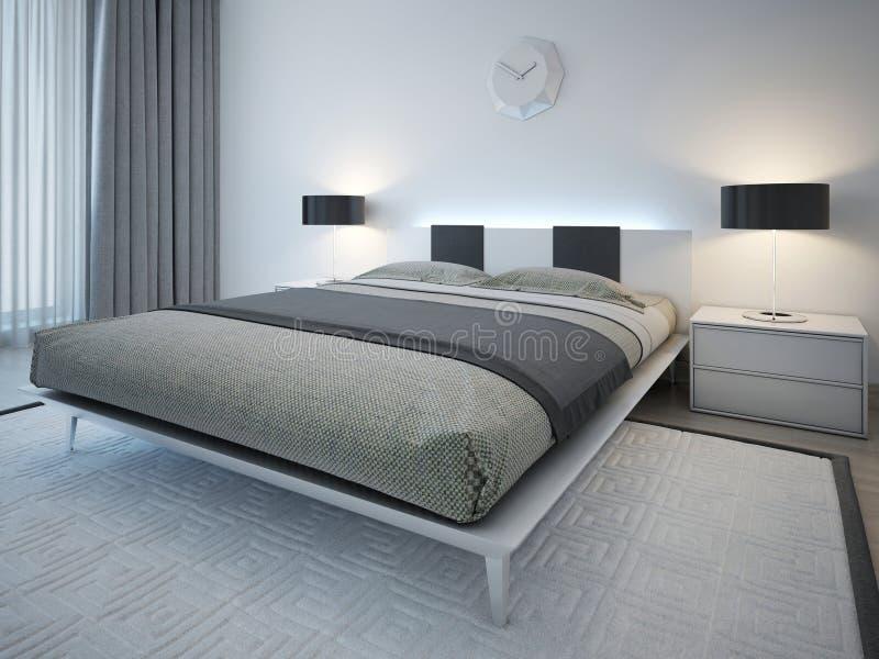 Διπλό κρεβάτι με τον πίνακα πλευρών στο μινιμαλιστικό ύφος στοκ εικόνες