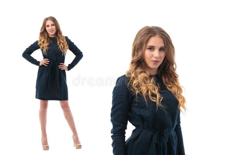 Διπλό πορτρέτο μιας όμορφης ενήλικης γυναίκας αισθησιασμού στη μαύρη τοποθέτηση φορεμάτων στοκ εικόνα