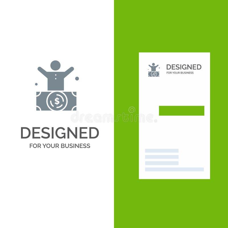 Δισεκατομμυριούχος, άτομο, εκατομμυριούχος, πρόσωπο, πλούσιο γκρίζο σχέδιο λογότυπων και πρότυπο επαγγελματικών καρτών απεικόνιση αποθεμάτων