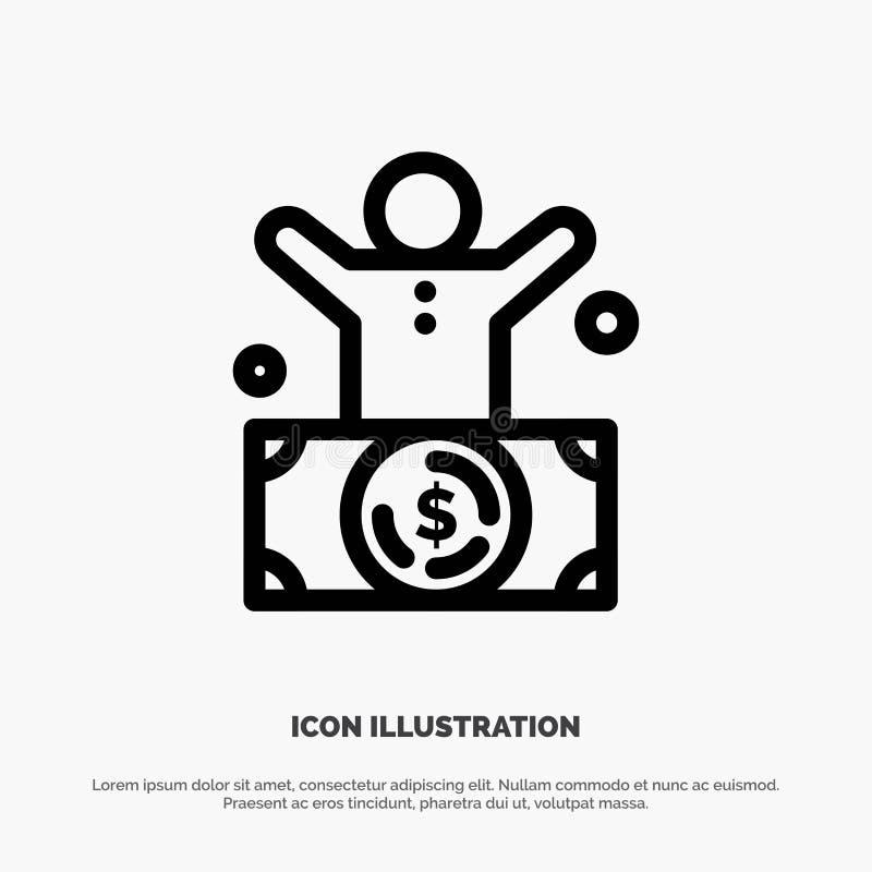 Δισεκατομμυριούχος, άτομο, εκατομμυριούχος, πρόσωπο, πλούσιο διάνυσμα εικονιδίων γραμμών διανυσματική απεικόνιση