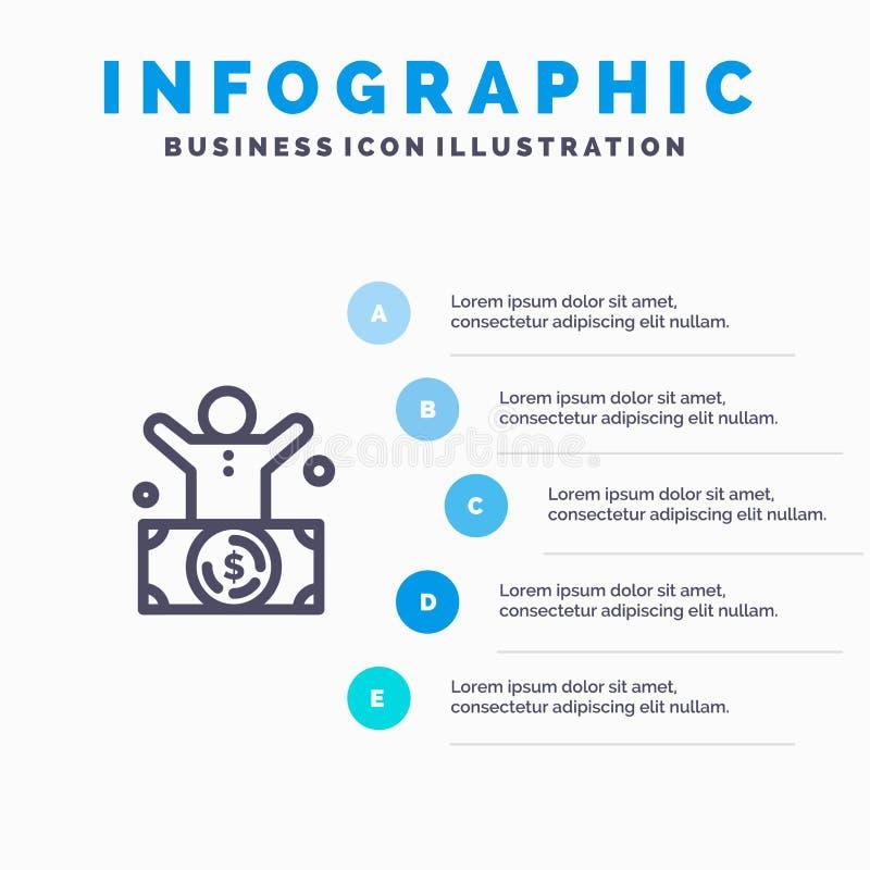 Δισεκατομμυριούχος, άτομο, εκατομμυριούχος, πρόσωπο, πλούσιο εικονίδιο γραμμών με το υπόβαθρο infographics παρουσίασης 5 βημάτων ελεύθερη απεικόνιση δικαιώματος
