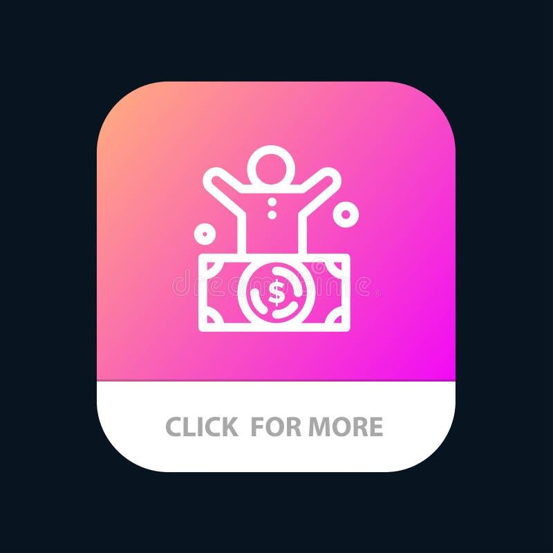 Δισεκατομμυριούχος, άτομο, εκατομμυριούχος, πρόσωπο, πλούσιο κινητό App κουμπί Έκδοση αρρενωπών και IOS γραμμών ελεύθερη απεικόνιση δικαιώματος