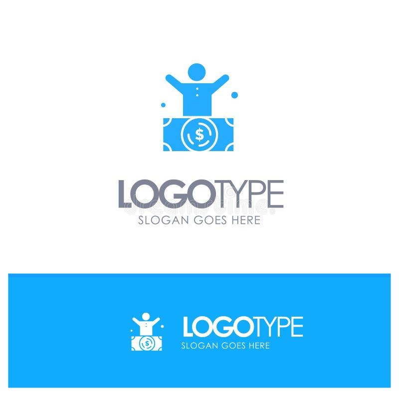 Δισεκατομμυριούχος, άτομο, εκατομμυριούχος, πρόσωπο, πλούσιο μπλε στερεό λογότυπο με τη θέση για το tagline διανυσματική απεικόνιση