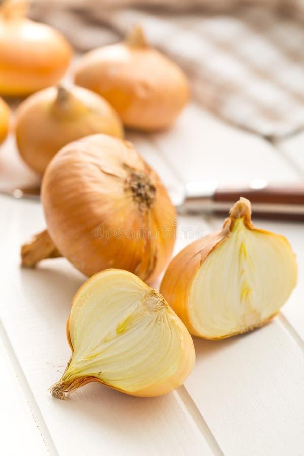Διχοτομημένο φρέσκο κρεμμύδι στον πίνακα κουζινών στοκ φωτογραφία