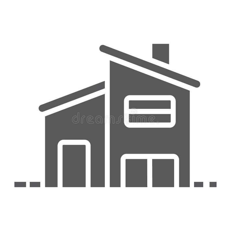Διώροφο εικονίδιο σπιτιών glyph, ακίνητη περιουσία και σπίτι ελεύθερη απεικόνιση δικαιώματος