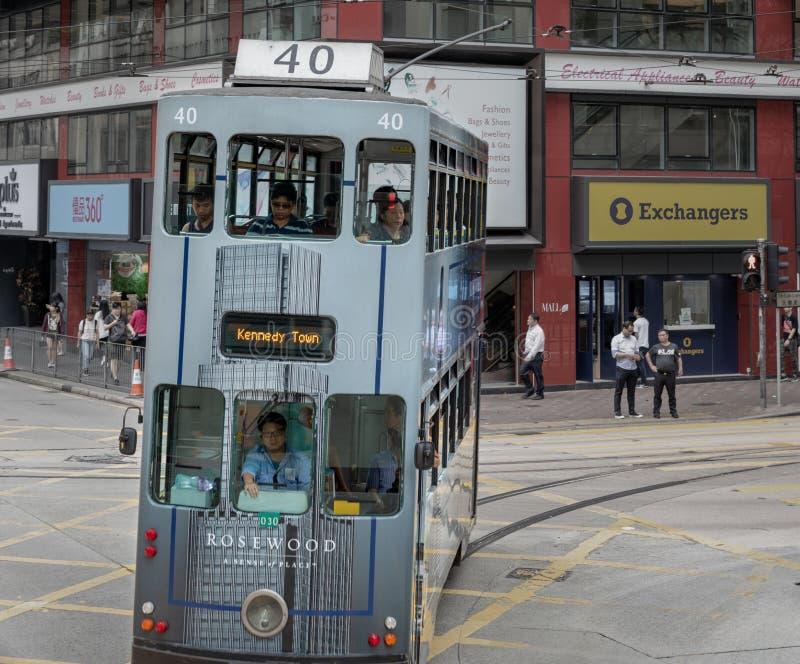 Διώροφο τραμ στο Χονγκ Κονγκ στοκ εικόνες