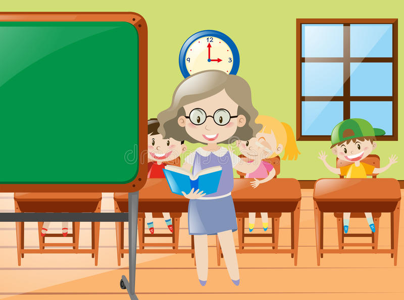 Διδασκαλία δασκάλων στην τάξη στο σχολείο διανυσματική απεικόνιση