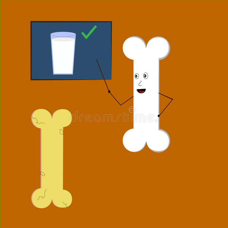 Διδασκαλία κόκκαλων για το ασβέστιο και το γάλα διανυσματική απεικόνιση