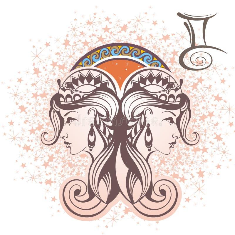 Διδυμοι σύμβολα δώδεκα σημαδιών σχεδίου έργων τέχνης διάφορο zodiac απεικόνιση αποθεμάτων