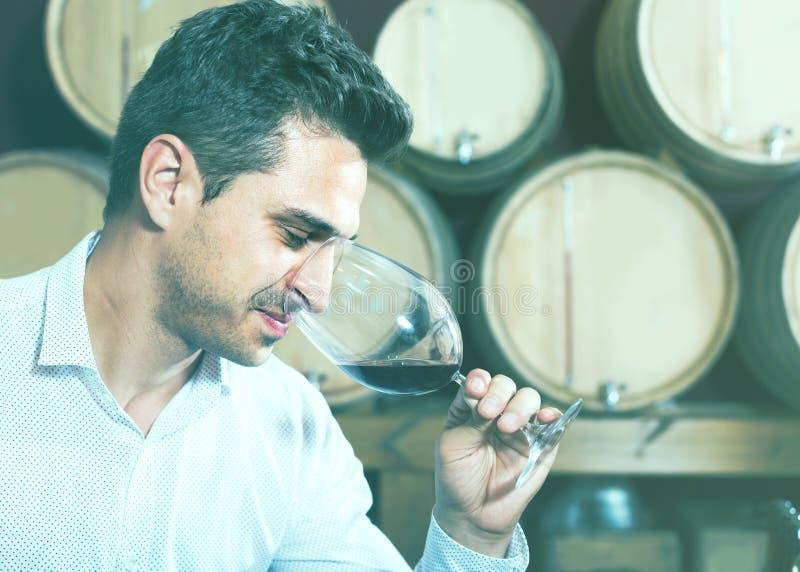 Δοκιμάζοντας κρασί ατόμων στο κελάρι στοκ φωτογραφίες