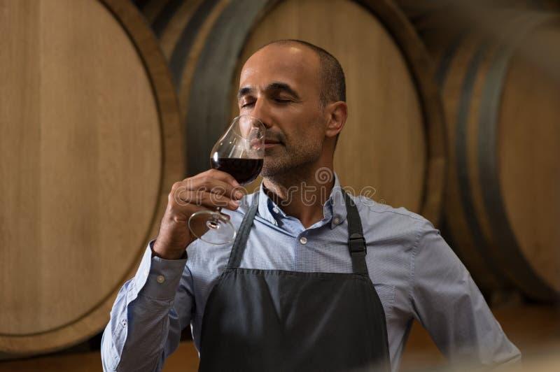 Δοκιμάζοντας κρασί Winemaker στοκ εικόνες