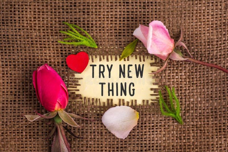 Δοκιμάστε το νέο πράγμα που γράφεται στην τρύπα burlap στοκ φωτογραφία