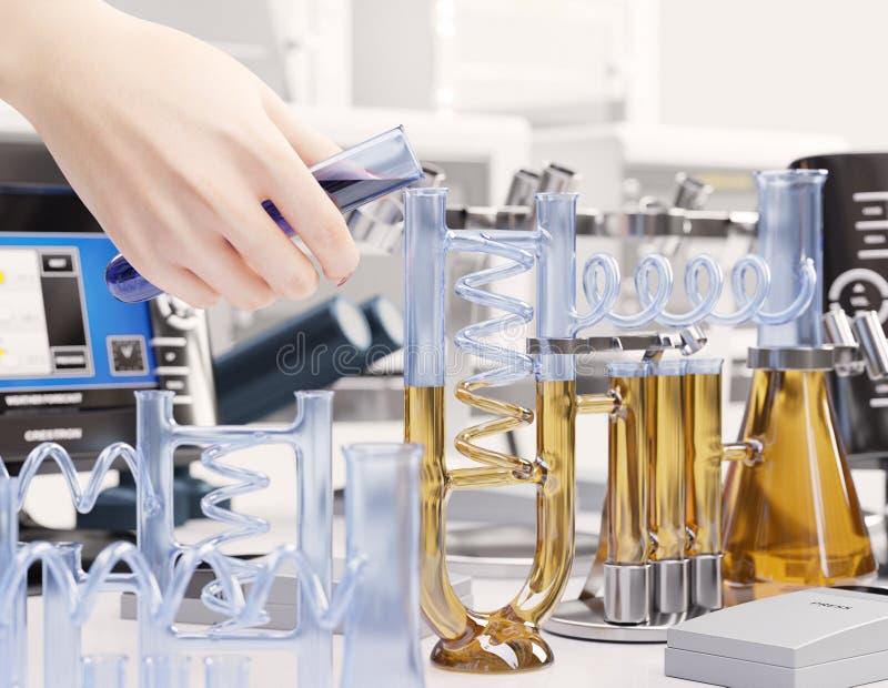 Δοκιμή αντίδρασης στο χημικό υπόβαθρο έννοιας εργαστηριακής επιστήμης στοκ εικόνες με δικαίωμα ελεύθερης χρήσης