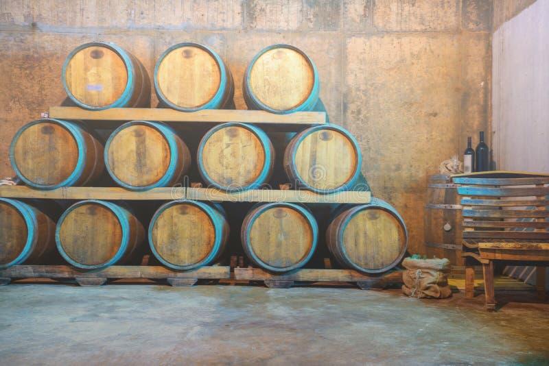 Δοκιμή κρασιού και γύρος Κροατία οινοποιιών από Hvar Κελάρι κρασιού με τα βαρέλια στοκ εικόνα