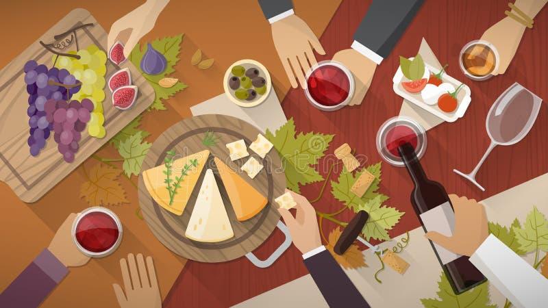 Δοκιμή κρασιού και τυριών ελεύθερη απεικόνιση δικαιώματος
