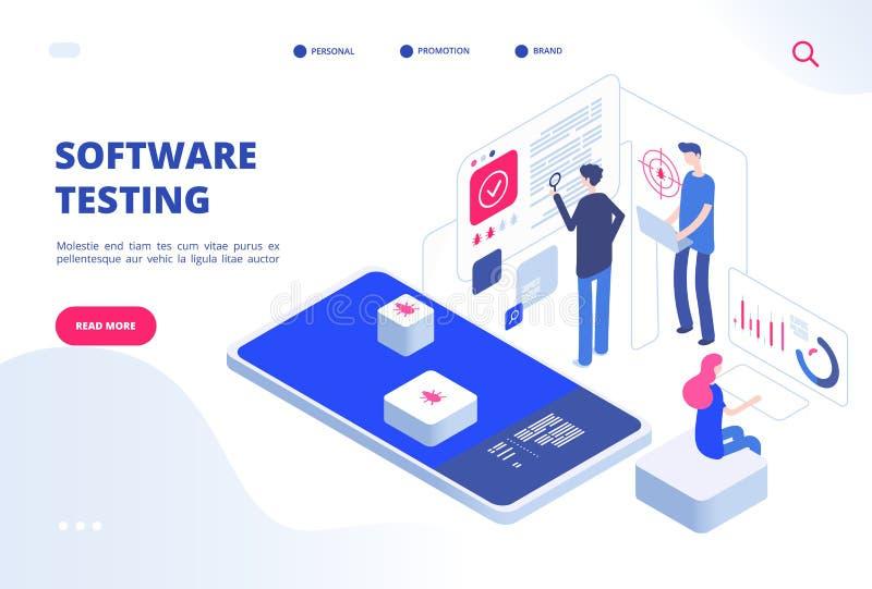 Δοκιμή λογισμικού Σε απευθείας σύνδεση υπολογιστών δοκιμής επιθεώρησης εφαρμογής υπηρεσία ανάπτυξης ιστοχώρου συστημάτων πρωτοτύπ διανυσματική απεικόνιση
