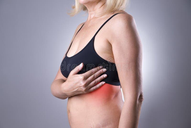 Δοκιμή στηθών, γυναίκα που εξετάζει τα στήθη της για τον καρκίνο, επίθεση καρδιών στοκ εικόνα με δικαίωμα ελεύθερης χρήσης