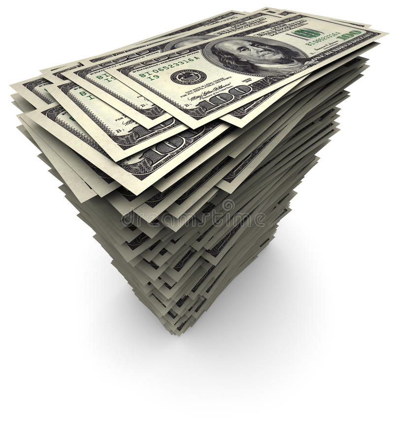 δολάρια εκατό μια στοίβα &c απεικόνιση αποθεμάτων