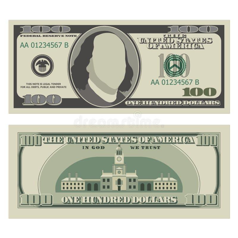 δολάριο εκατό λογαριασμών ένα μπροστινής και αντίστροφης πλευρά τραπεζογραμματίων 100 δολαρίων, απεικόνιση αποθεμάτων