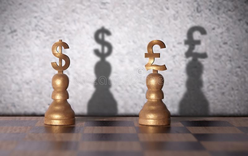 Δολάριο εναντίον της έννοιας λιβρών στοκ εικόνα με δικαίωμα ελεύθερης χρήσης