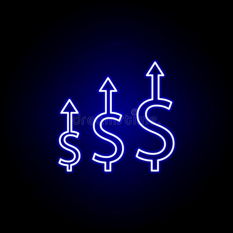 δολάριο επάνω στο εικονίδιο βελών στο ύφος νέου Στοιχείο της απεικόνισης χρηματοδότησης Το εικονίδιο σημαδιών και συμβόλων μπορεί διανυσματική απεικόνιση
