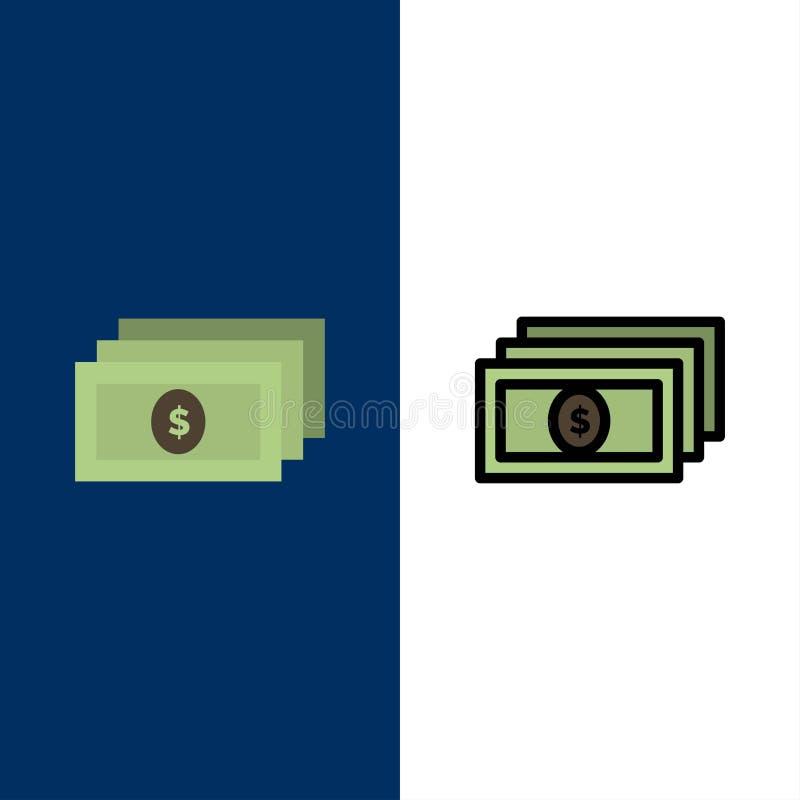 Δολάριο, χρήματα, εικονίδια μετρητών Επίπεδος και γραμμή γέμισε το καθορισμένο διανυσματικό μπλε υπόβαθρο εικονιδίων διανυσματική απεικόνιση