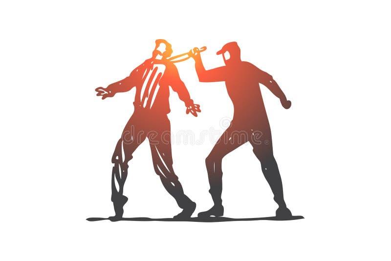 Δολοφονία, έγκλημα, εγκληματίας, θύμα, έννοια μαχαιριών Συρμένο χέρι απομονωμένο διάνυσμα απεικόνιση αποθεμάτων