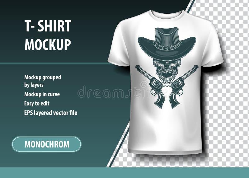 Δολοφόνος κάουμποϋ κρανίων Πρότυπο μπλουζών, πλήρως editable ελεύθερη απεικόνιση δικαιώματος