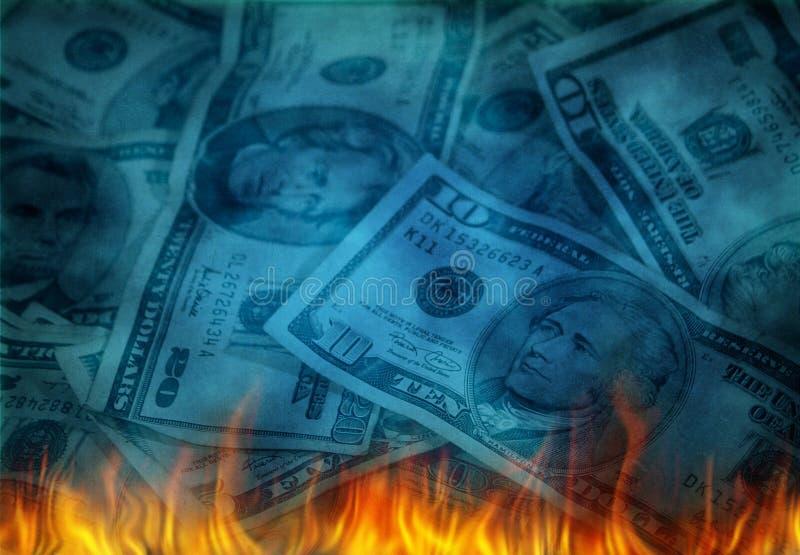Δολ ΗΠΑ στις φλόγες ελεύθερη απεικόνιση δικαιώματος