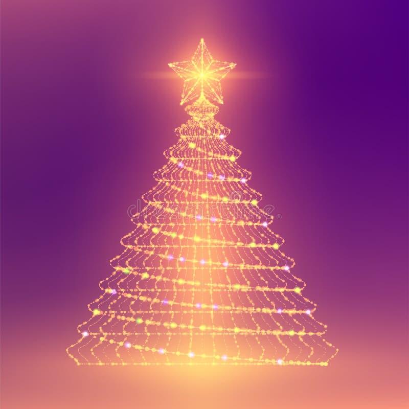 Δομή και ο φακός πλαισίων πολυγώνων αστεριών χριστουγεννιάτικων δέντρων wuth wireframe bokeh η ελαφριοί καίγονται, illustrati σχε διανυσματική απεικόνιση