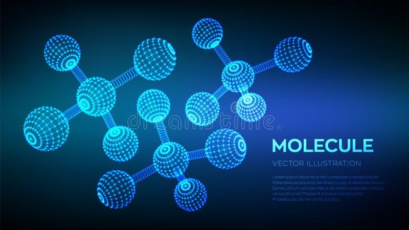 δομή μορίων DNA, άτομο, νευρώνες Μόρια και χημικοί τύποι τρισδιάστατο επιστημονικό υπόβαθρο μορίων για την ιατρική, επιστήμη, ελεύθερη απεικόνιση δικαιώματος