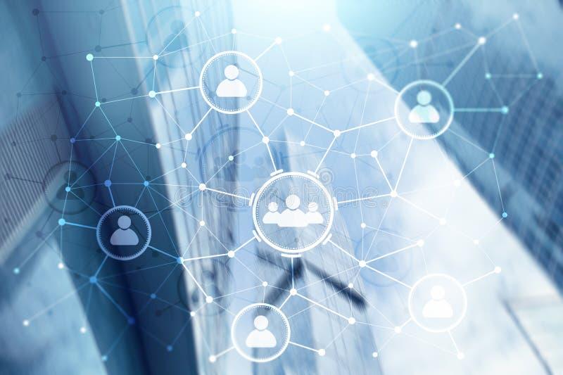 Δομή σχέσης και οργάνωσης ανθρώπων συνομιλίες έννοιας επικοινωνίας δεσμών που έχουν τους ανθρώπους μέσων κοινωνικούς Έννοια τεχνο διανυσματική απεικόνιση