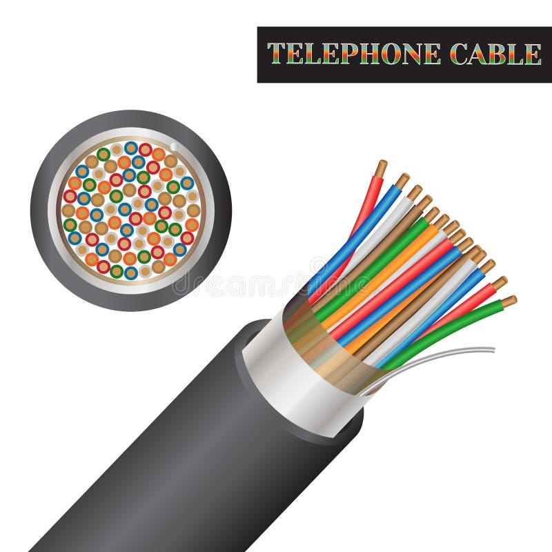 Δομή τηλεφωνικών καλωδίων Είδος ενός ηλεκτρικού καλωδίου διανυσματική απεικόνιση