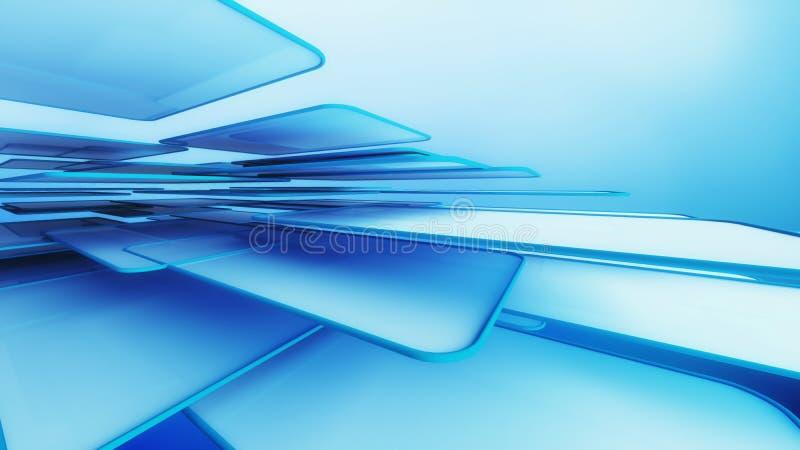 Δομή των μπλε κύβων αρχιτεκτονικής στο μπλε υπόβαθρο στο techn ελεύθερη απεικόνιση δικαιώματος