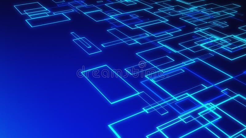 Δομή των μπλε κύβων αρχιτεκτονικής στο μπλε υπόβαθρο στο techn διανυσματική απεικόνιση