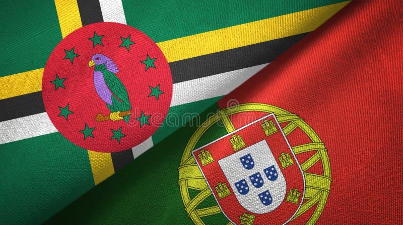 Δομίνικα και Πορτογαλία δύο υφαντικό ύφασμα σημαιών, σύσταση υφάσματος ελεύθερη απεικόνιση δικαιώματος