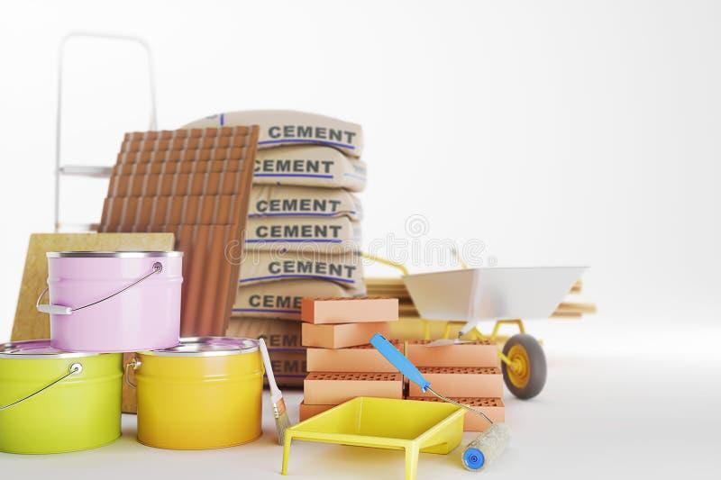Δομικά υλικά που απομονώνονται στο λευκό Κάδος χρωμάτων, τούβλα, βούρτσα r r απεικόνιση αποθεμάτων