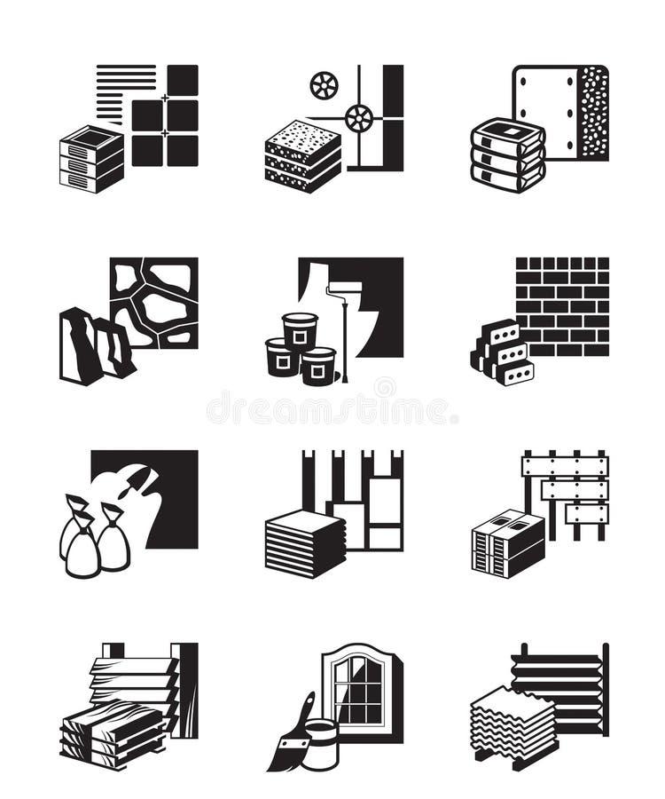 Δομικά υλικά και λεπτομέρειες οικοδόμησης διανυσματική απεικόνιση